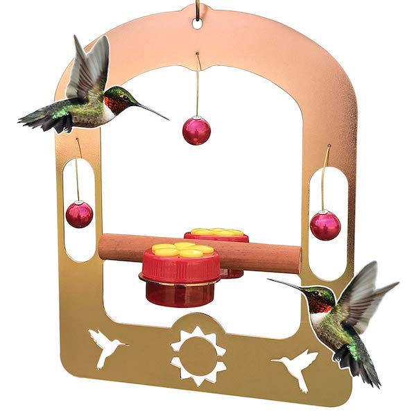 Pops Copper Hummingbird Swing with Heart Jewel