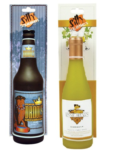 Drools Beer Bottle and Kennel Relaxin' Wine Bottle Dog Toys