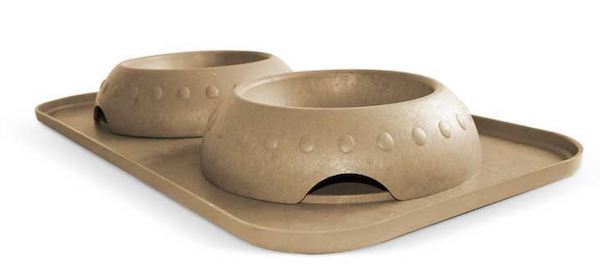 Natural Rice Hulls Dog Feeder Set