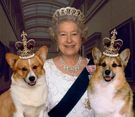 Queen Elizabeth II and Two of Her Corgis (Image via NiceSpace)