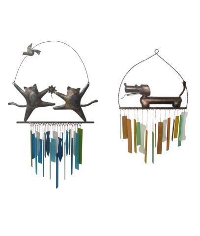 Dancing Cat and Panting Dog wind chimes