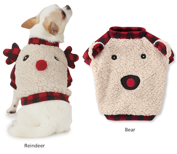Cozy Sherpa Fleece Bear & Reindeer Pullovers for Dogs