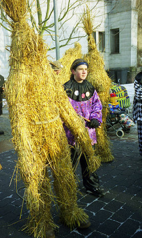Straw Bears in a Procession (Public Domain Image)