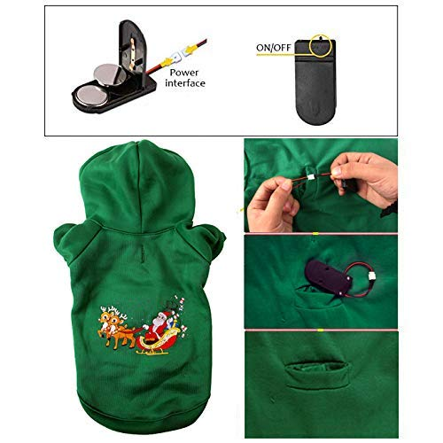 CharmCZ Ugly Xmas Sweatshirt For Dogs: Green Reindeer