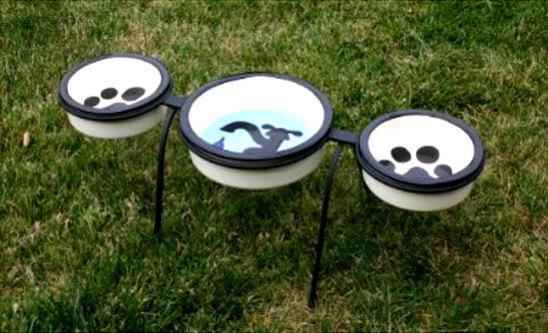 Raised Wrought Iron Triple Bowl Dog Feeder by Melia