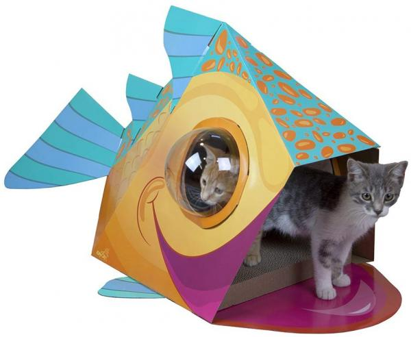 Kitty City Bubble Window Cat Cubby - Fish Dome