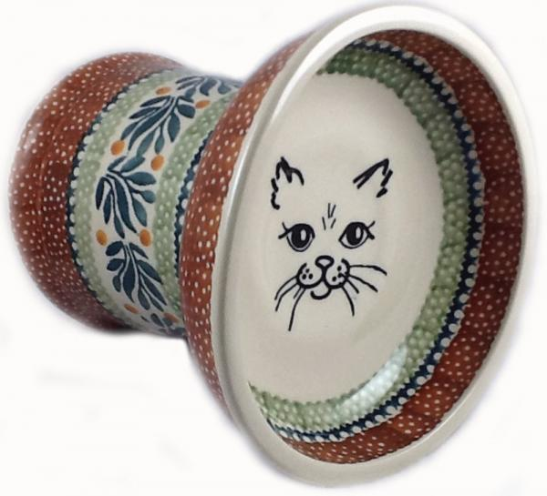 Polish Pottery Raised Cat Bowl