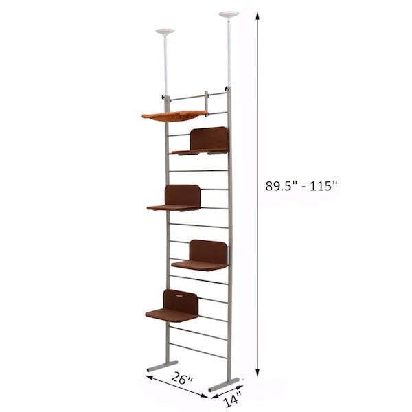PawHut Floor-to-Ceiling Adjustable Staggered Climbing Cat Tree Tower