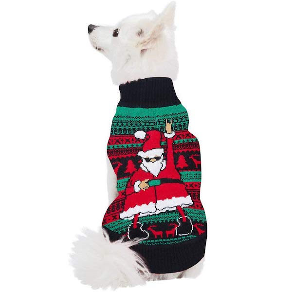 Uideazone Ugly Xmas Sweater For Dogs: Dancing Santa Claus