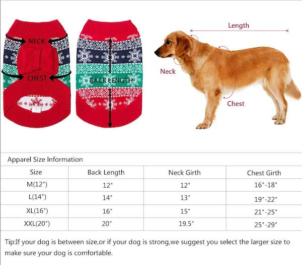 Uideazone dog sweater measuring chart