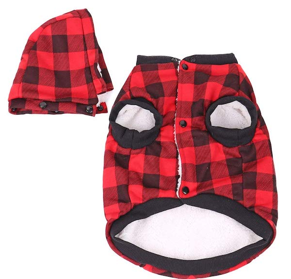 PAWZ Road Dog Plaid Shirt Coat W/ Hoodie