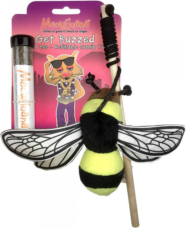 Meowijuana Get Buzzed Refillable Catnip Bee Toy and Teaser