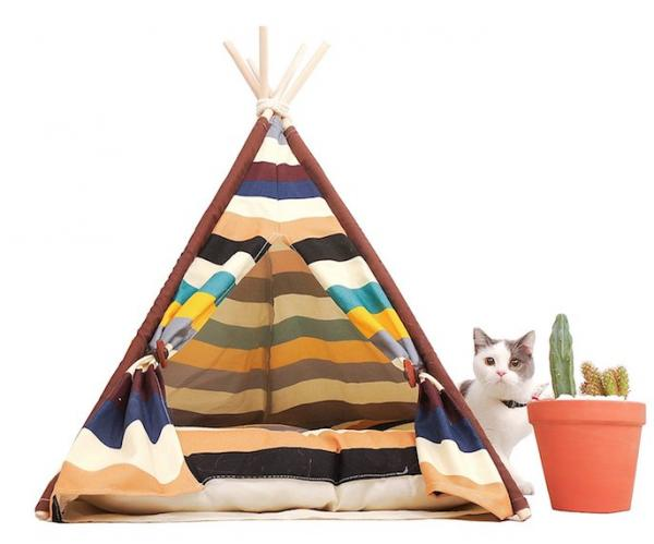 Little Dove Striped Canvas Pet Teepee
