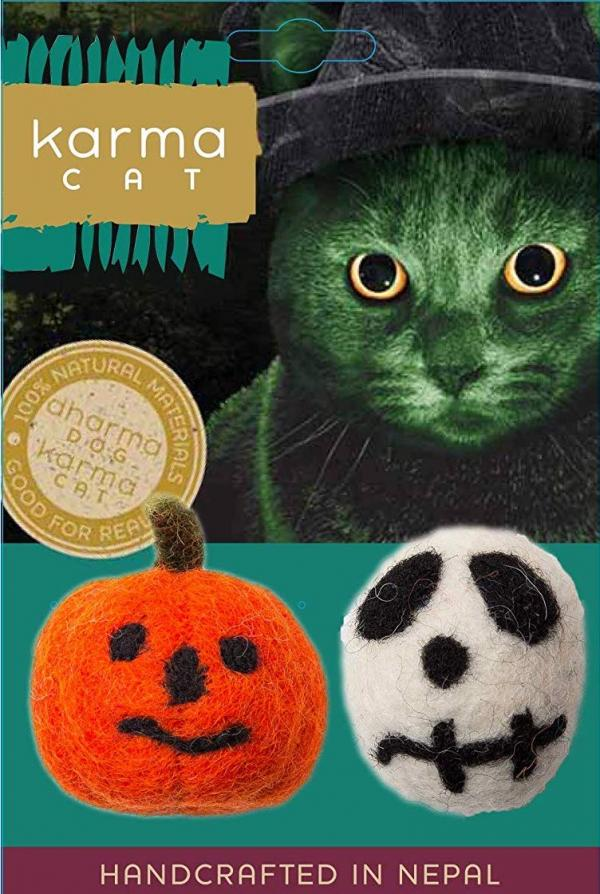 Karma Cat Halloween Skull and Jack-O-Lantern Wool Cat Toys, Pack of 2