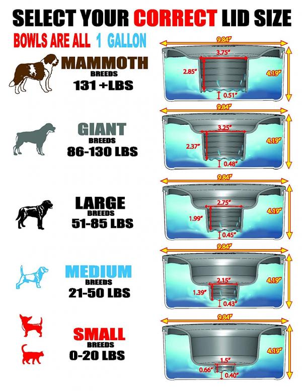 Slopper Stopper Dripless Water Bowl Sizes