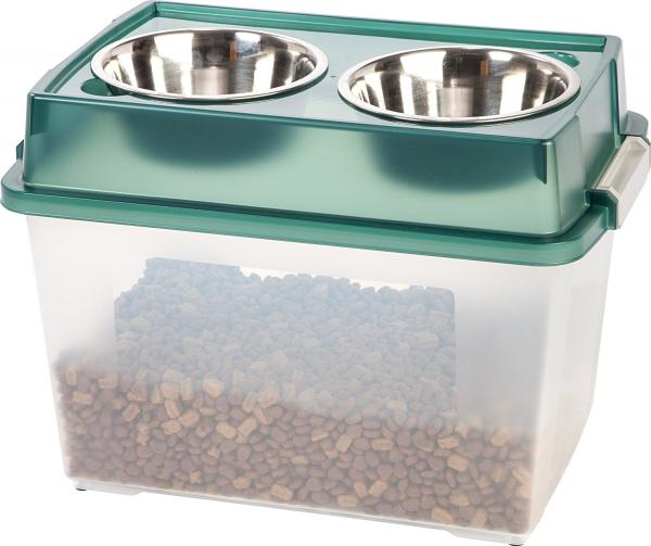 IRIS Airtight Elevated Storage Feeder with 2 Stainless Steel Bowls