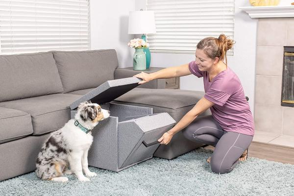 The Best Multi-Functional Pet Stairs Yet: PetFusion's Pet Step Ottoman & Pet Toy Storage Unit   If you're looking for an ottoman for your small dog or cat, you don't have to choose same old, same old. Take a look at this unique piece of furniture that will broaden your pet's perspective and provide access to his favorite human being.       PetFusion Multi-Purpose Pet Step Ottoman & Pet Toy Storage Unit