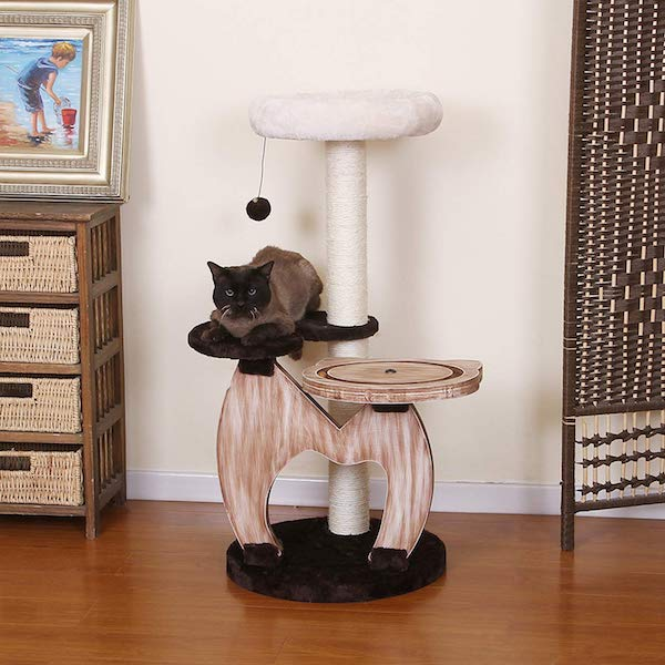 PetPals wood three-level cat tree