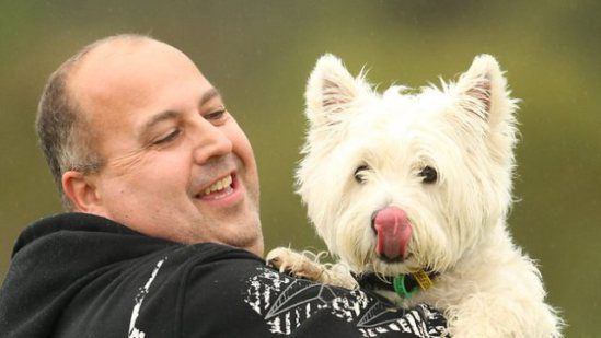 Dale Culpin, who saved his dog Lachie's life: photo: Picture: Darren McNamara, Sunday Herald Sun