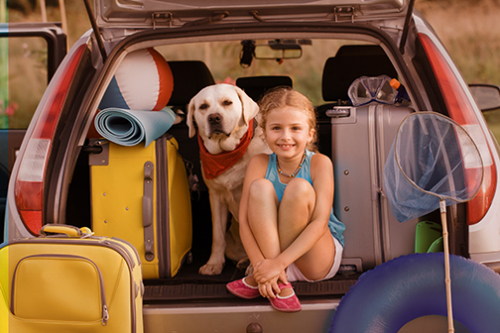Girl,  Dog and Luggage