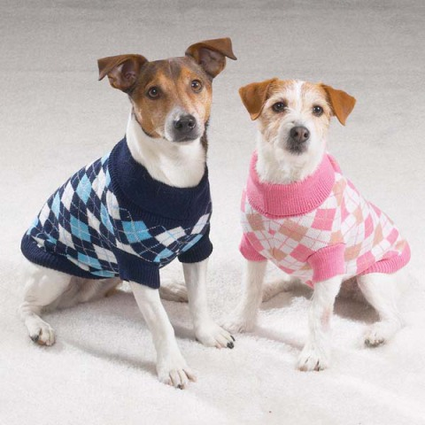 Pink and Blue Argyle Dog Sweaters