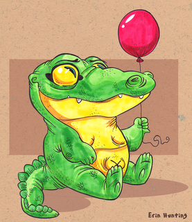 Baloon Envy by Hunting: This crocodile is having a good day. Crocodile art by Hunting