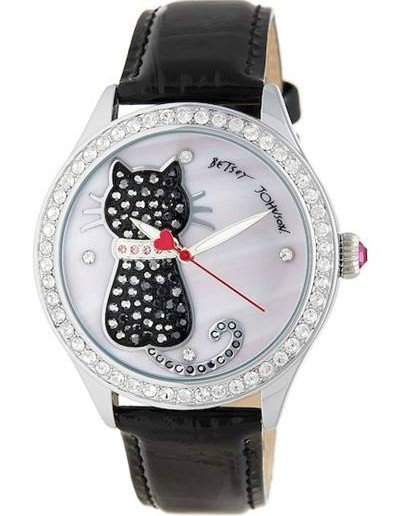 Crystal Embossed cat watch by Betsey Johnson