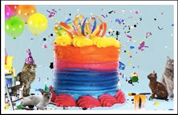 Birthday Surprise Cake eCard, Cat Version: © Sloppy Kiss Cards