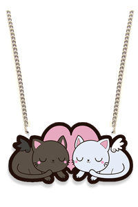 Black and White Kitties by HHCandy: Sleepy kittens art necklace by HHCandy