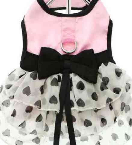 Pink Satin and Hearts Chiffon Harness Dress