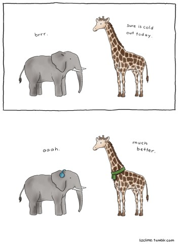 Bundle Up by Climo: These animals are out of their element! Elephant and Giraffe art by Climo