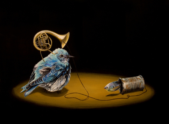 Can-munication by Gagnon: A bird and fish sharing music painted by Gagnon