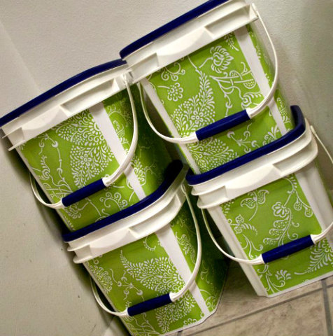 DIY Storage Containers from Upcycled Kitty Litter Buckets: From A Little Life in Everything blog by Cheryl Flowers