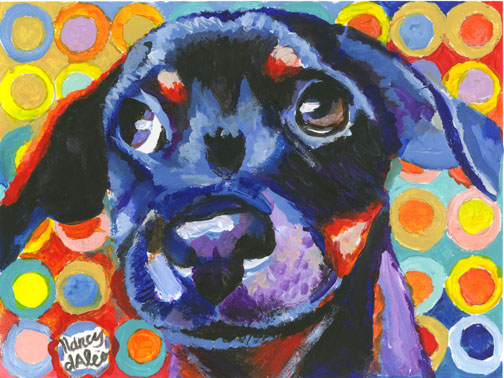 Dog Face by Daleo: This pup will brighten your day! Puppy art of Nancy Daleo.