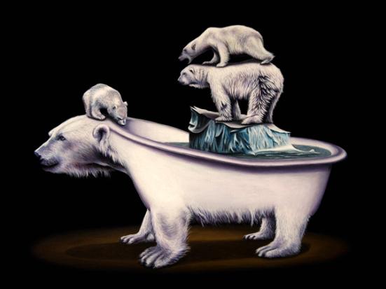Draining by Gagnon: Draining by Gagnon Polar Bears on Ice in a Polar Bear Tub