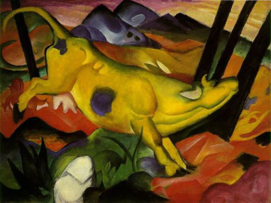 The Yellow Cow by Franz Marc: The Yellow Crow by Franz Marc
