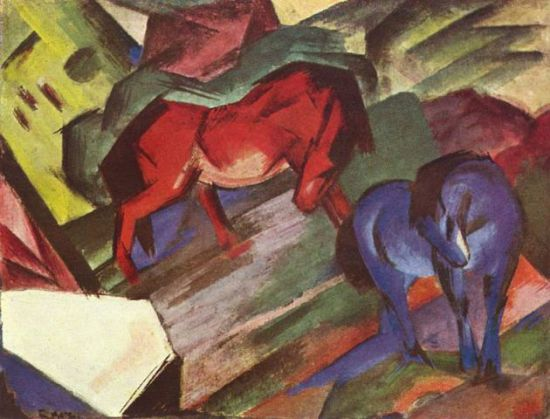 Red and Blue Horses by Franz Marc: Red and Blue Horses by Franz Marc