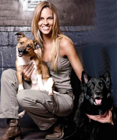 Hilary Swank with Karoo and Rumi: Source: olaladog.com