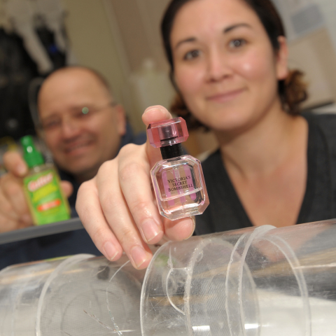 NMSU biology professor Immo Hansen, left, and research assistant Stacy Rodriguez at NMSU with mosquito testing products