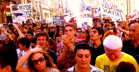Animal activists march is Istanbul to protest 'animal roundup.': image via louisfishman.blogspot.com/