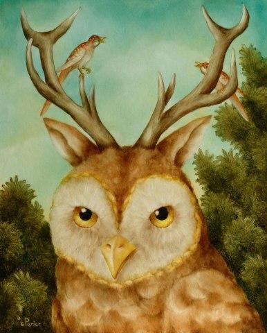 L'Air du Temps by Perier: Owl Dear Cat art by Perier