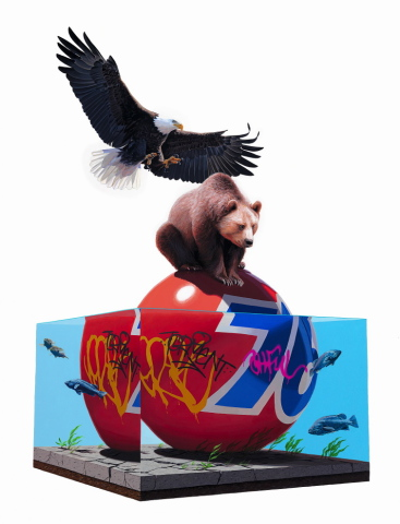 Lifted by Keyes: Sorry baldy, this perch is taken. Eagle and Bear art by Keyes