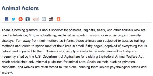 PETA's postion on Animal Actors