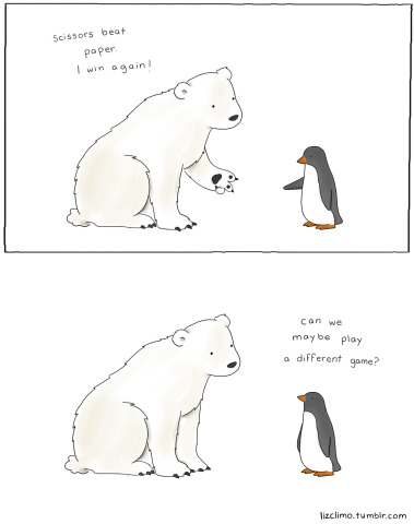 Paper Rock Scissors by Climo: This is not a penguin's favorite game. Polar bear and penguin art of Liz Climo
