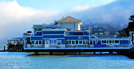 Fog moving in over Scoma's and, behind it, the Trident Sausalito, CA: Image via Rebecca M. Hale Facebook