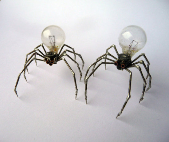 Spiders numbers Five and Six by Gates: Greetings and salutations! These spiders are barely larger than the real thing. Spider art by Gates.