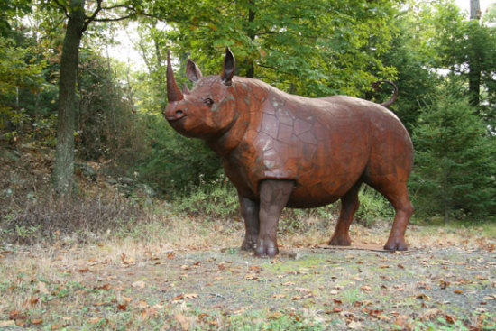 Steel Rhino by Williams: This steel rhino sculpture is 13 feet long and weighs 1500 pounds.