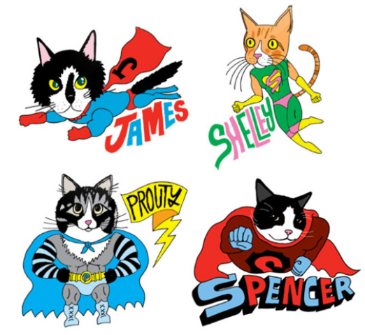 Composite of cat superheros: by Pets Are Superheros, image via moderncat.net