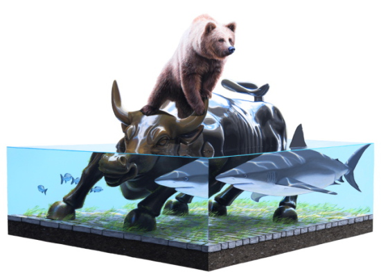 The Exchange II by Keyes: Ready to settle the age ol' shark vs. bear debate. Animal art by Keyes