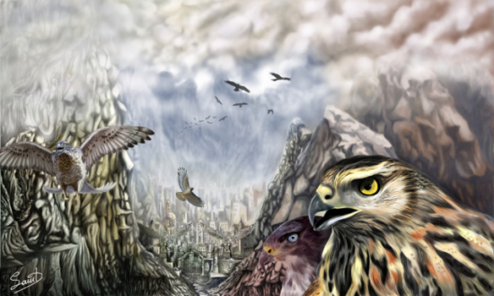 The Hawks Crossing by Agios: Some epic hawk art by Angelos Agiostratitis